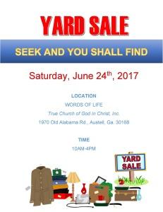 Words of Life Yard Sale Flyer 2017-06-24